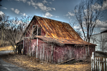 HDR Photography, Falling Barns